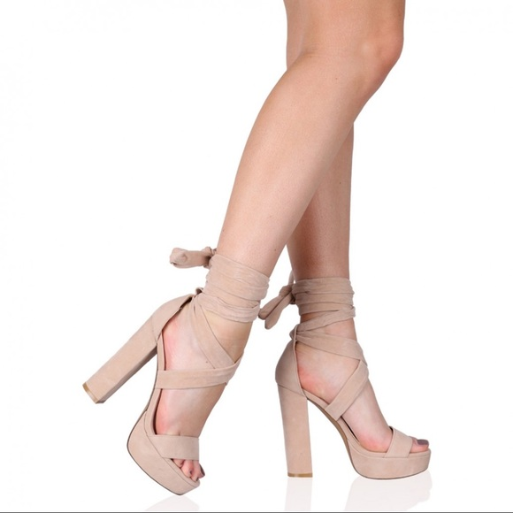 cccd979f00a Nude Ankle Wrap Platform Sandals. M 5ab51bf3a6e3eaa16e604574